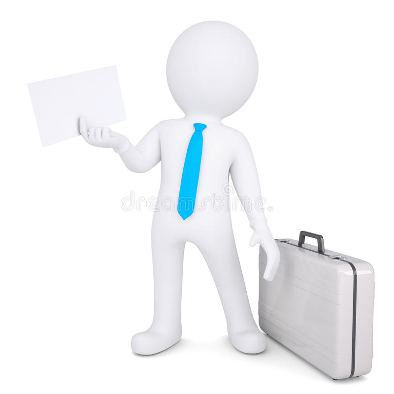 3d man with suitcase holding sheet of paper stock illustration