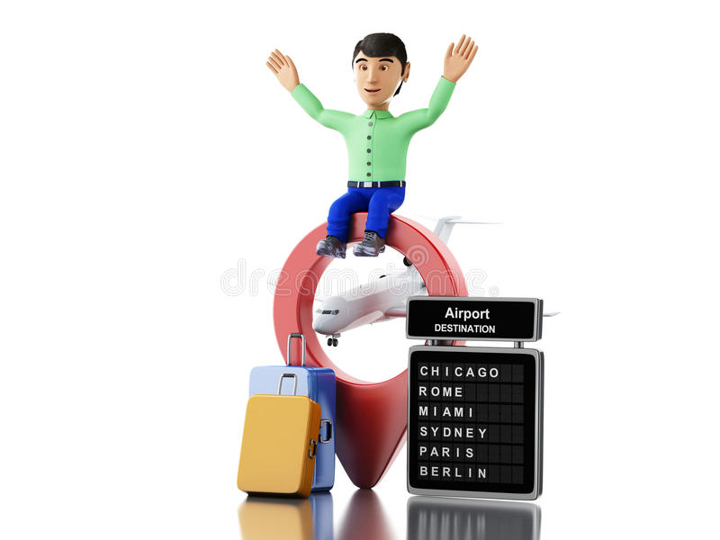 3d man with suitcases map pointer and airport board stock download 3d man with suitcases map pointer and airport board stock illustration illustration gumiabroncs Gallery