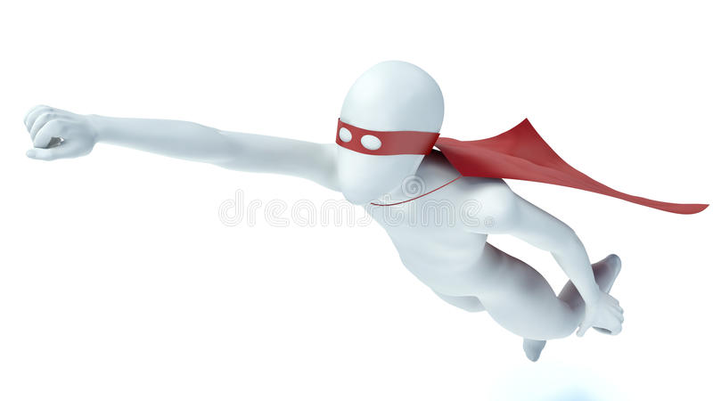 3d man superhero in a red cloak royalty free illustration