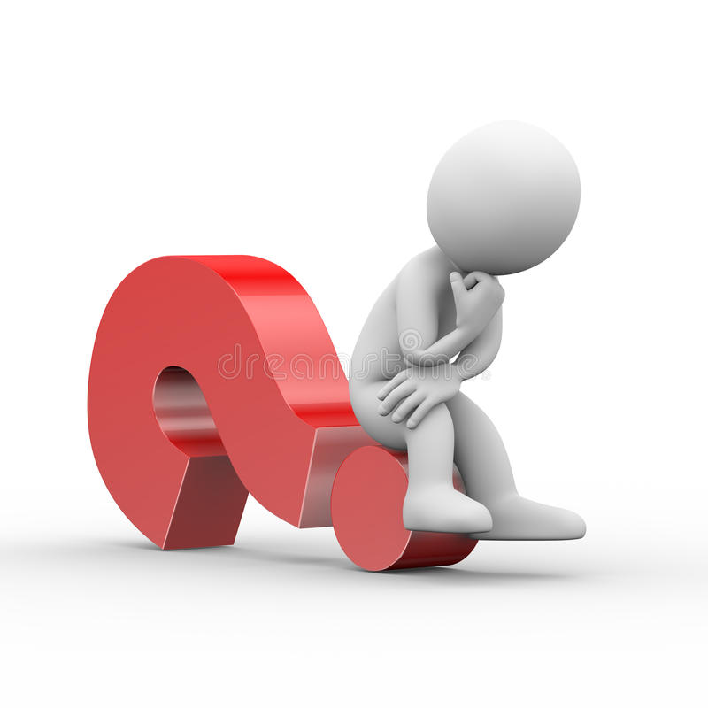 3d man thinker sitting on question mark stock illustration Confused Person Cartoon Confident Person