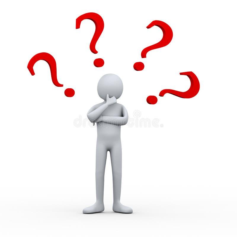 3d Man Thinking Question Marks Stock Illustration ...