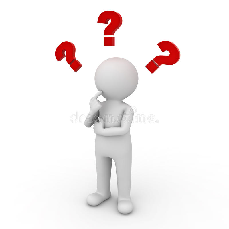 3d man thinking with red question marks stock image