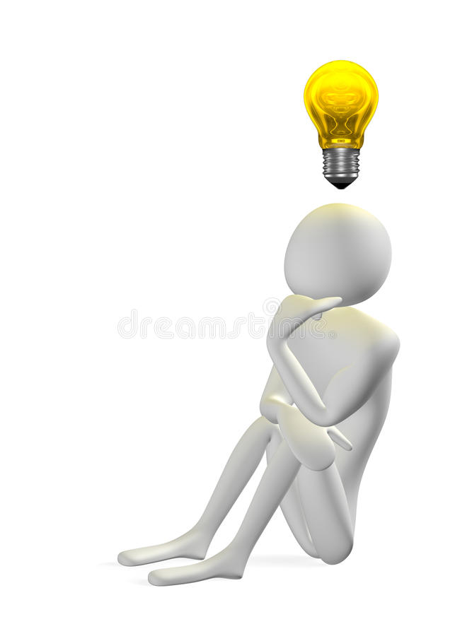 3d man thinking and yellow light bulb above. 3d man thinking sitting on ground, holding his chin with hand, and yellow light bulb above his head isolated on vector illustration