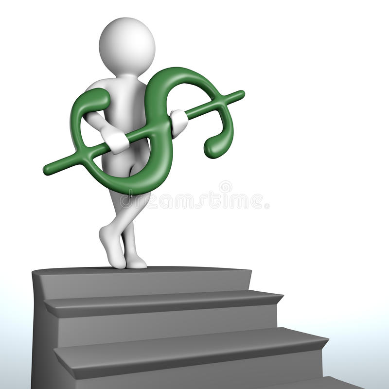 Download 3D Man At The Top Of The Stairs Holds Green Dollar Sign Stock Illustration - Image: 37130003