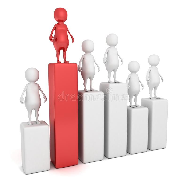 3d man on the top of success bar chart. achievement career concept. 3d royalty free illustration
