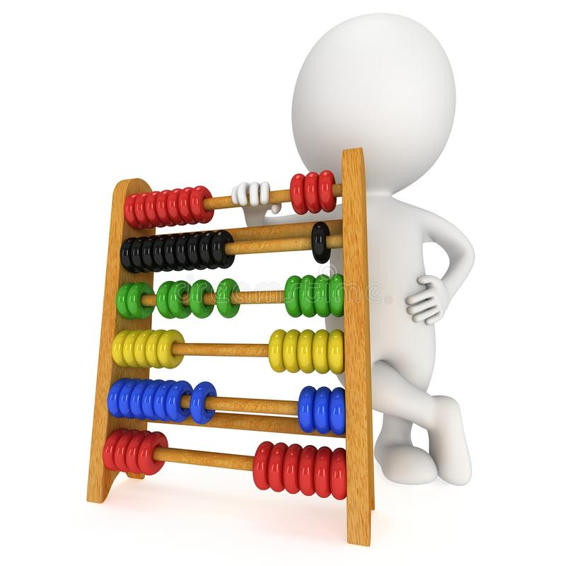 3d man with toy abacus. 3d man with wooden colorful toy abacus learn counting. 3d render isolated on white. Education concept royalty free illustration