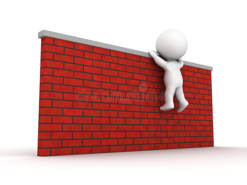 Download 3D Man Trying To Climb Wall Stock Illustration - Illustration of white, climbing: 34816508