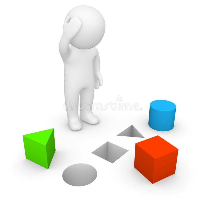 3d man trying to solve problem stock illustration
