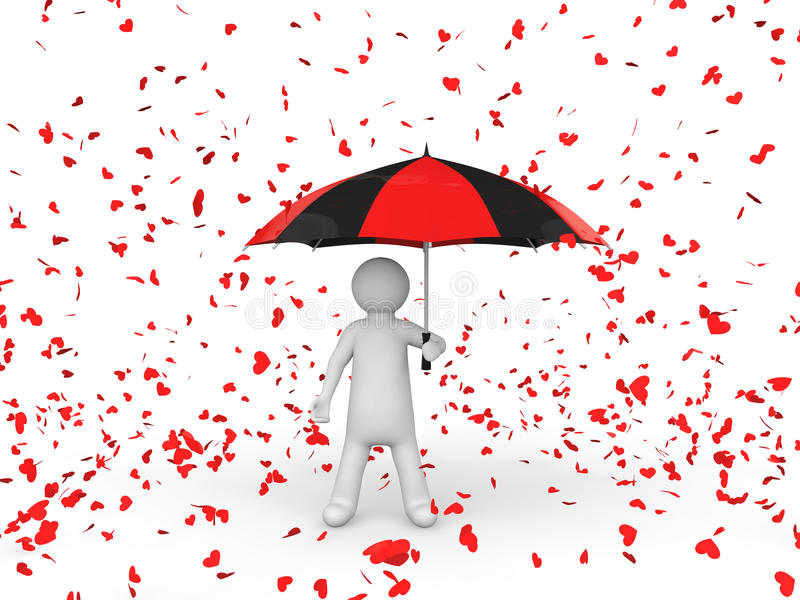 3d man with umbrella under falling hearts royalty free stock photo