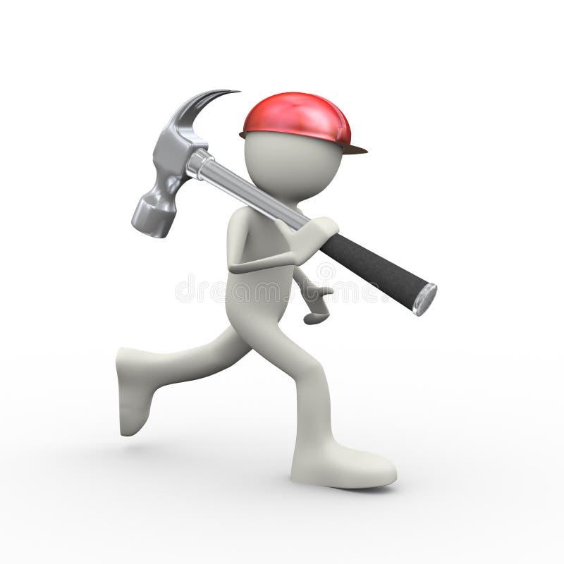 3d man using helmet running with claw hammer stock illustration