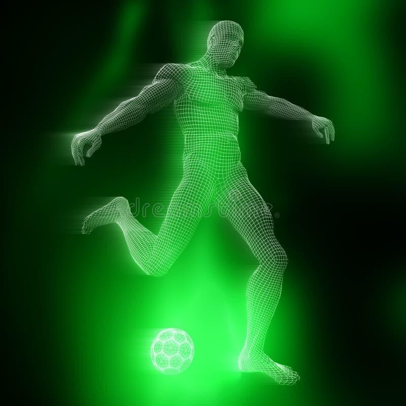 3D man voetballer figuur met wireframe design vector illustratie