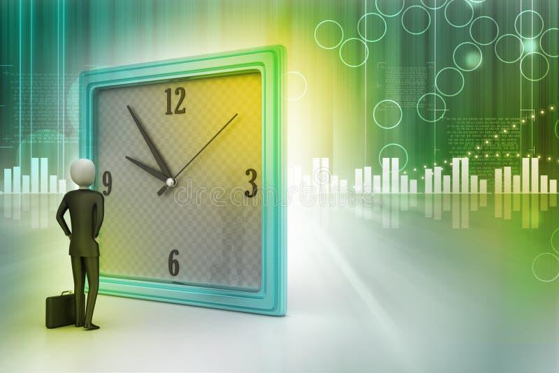 3d man watching the clock vector illustration