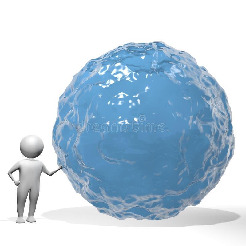 3D Man - Water Consumption royalty free illustration