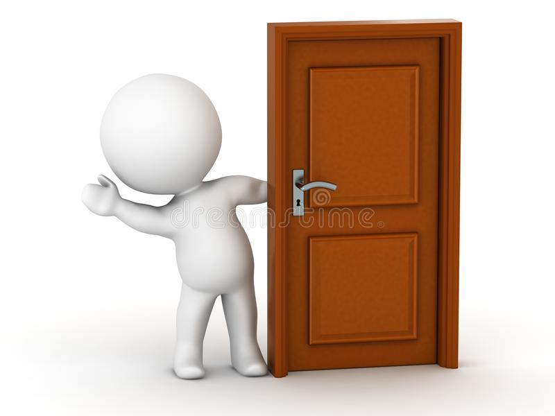3D Man waving from behind door royalty free illustration