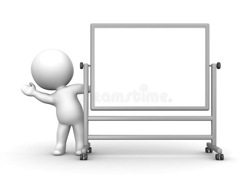 3D Man waving from behind large whiteboard stock illustration