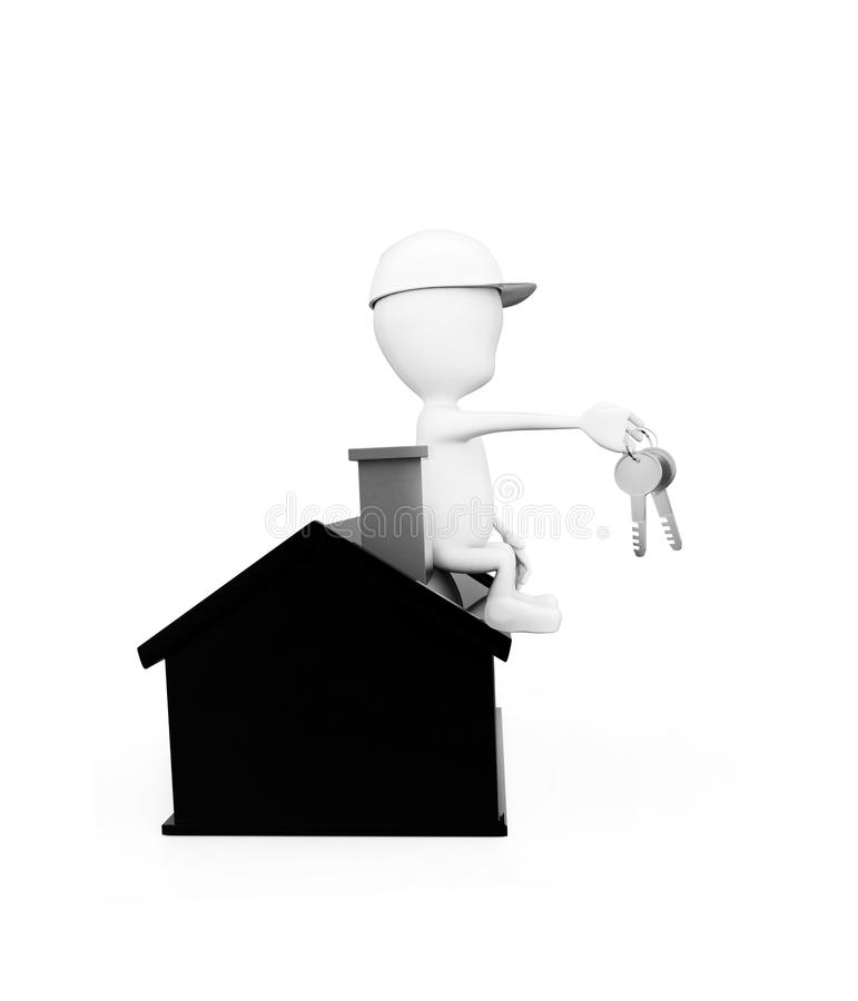 3d man wearing construction helmet and holding keys in hand while sitting on top of a miniature house concept royalty free illustration