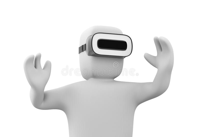 3d man wearing VR headset and experiencing virtual reality. Isolated on white background stock illustration