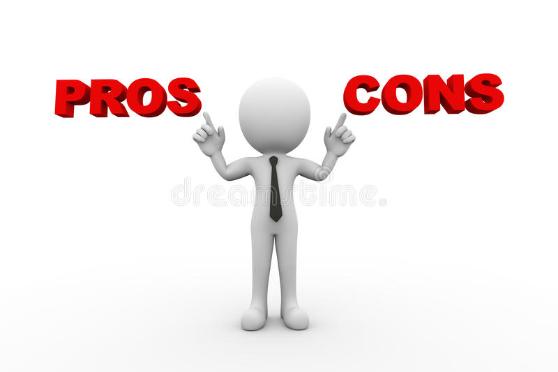 3d man with word pros and cons. 3d rendering of man pointing to word text pros and cons. 3d white person people man stock illustration
