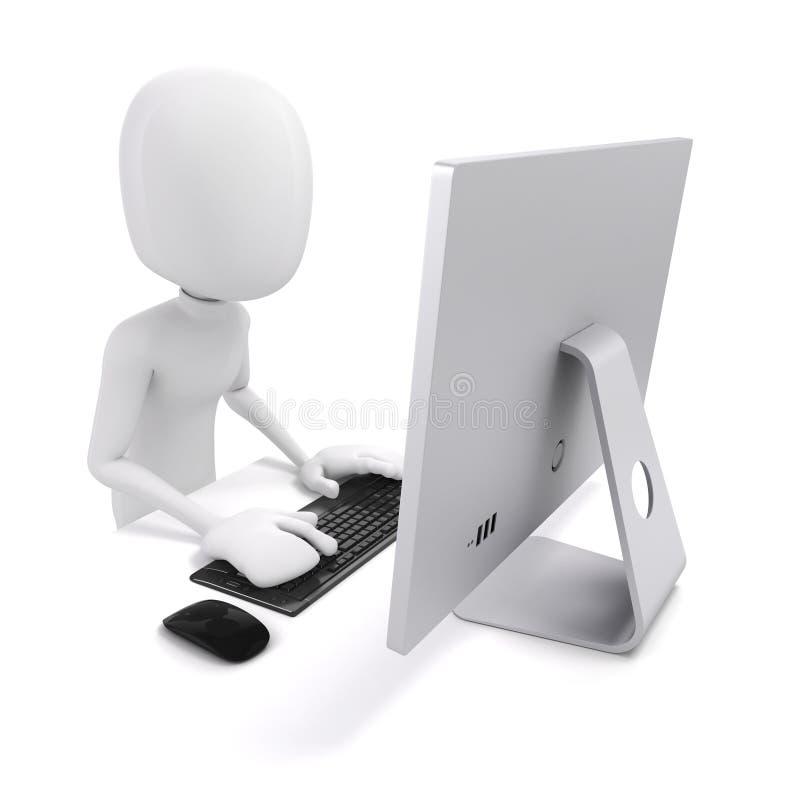 3d Man Working On Computer Stock Illustration Image