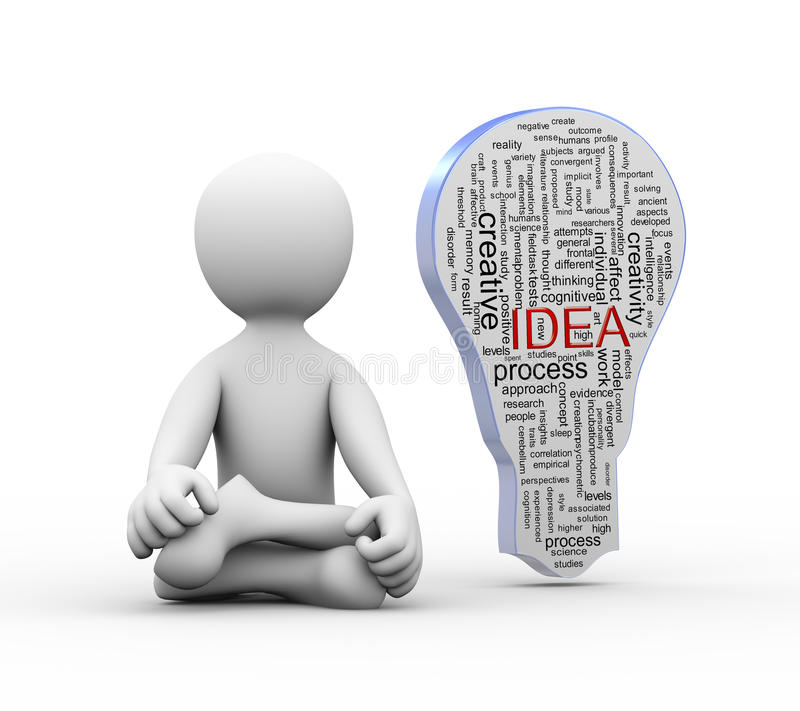 3d man in yoga position with idea bulb word tags stock illustration