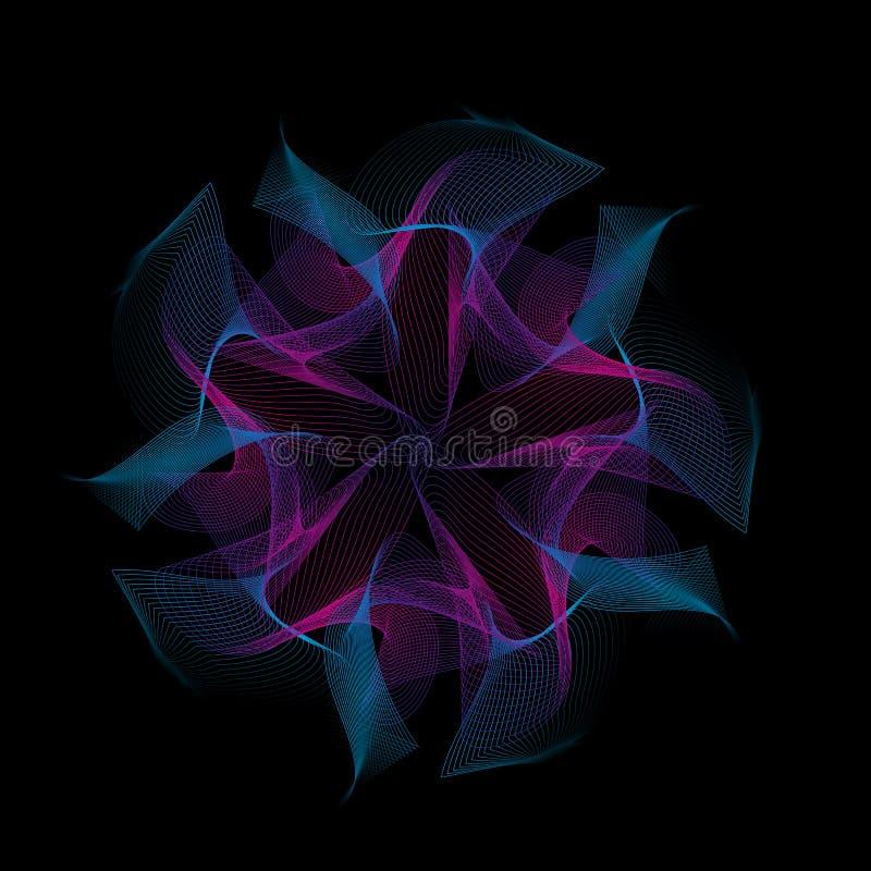 3d mandala geometrical kwiat Abstrakcjonistyczny geometryczny tło z dynamicznymi fala royalty ilustracja