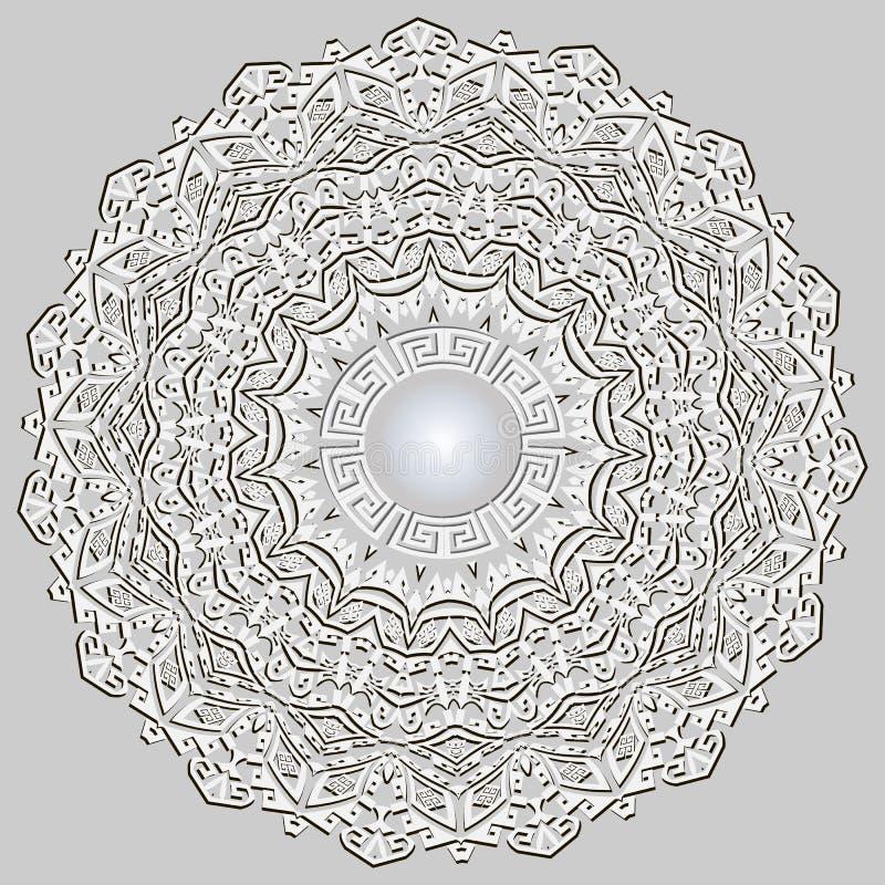 3d mandala koronkowy geometryczny grecki wektorowy wzór etniczny t?a ornamental Rocznika grka klucza meanderów kwiecisty ornament royalty ilustracja