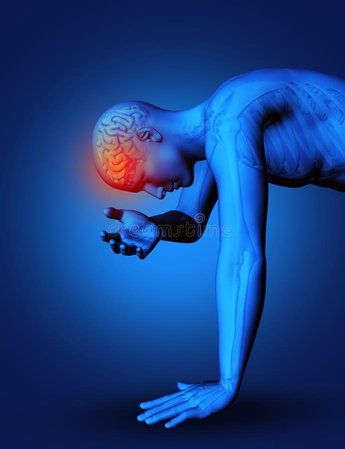 3D mannelijk benadrukt cijfer met hersenen vector illustratie