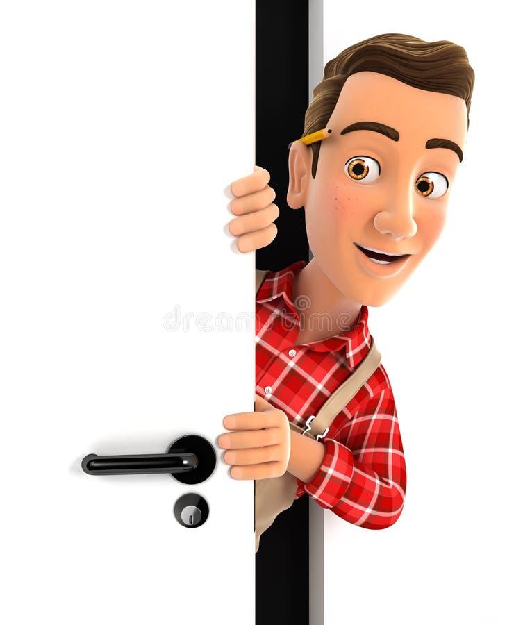 3d manusje van alles die achter een deur gluren stock illustratie
