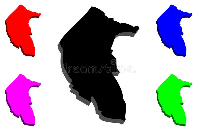 3D map of Australian Capital Territory. Australian states and territories, ACT, Federal Capital Territory - black, red, purple, blue and green - vector stock illustration