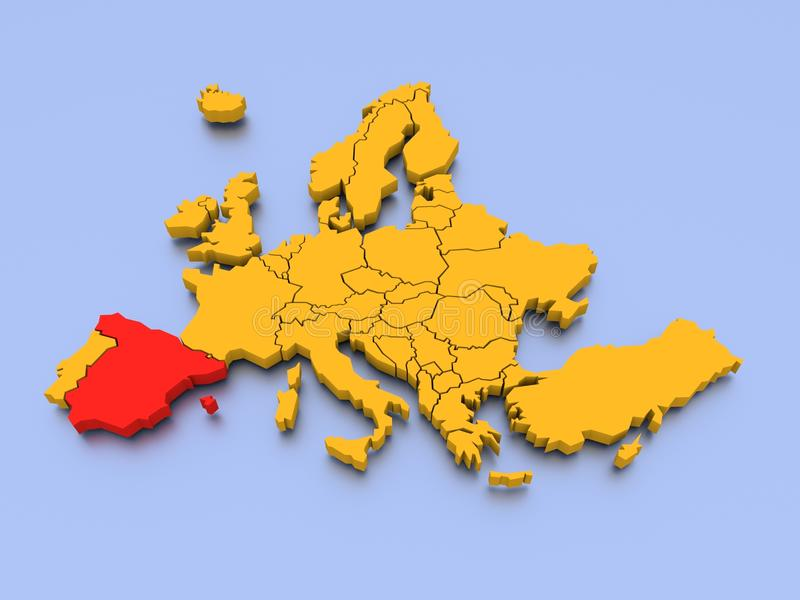 3d map of Europe stock illustration