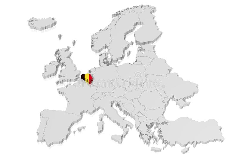 3D map, flag - Belgium stock illustration