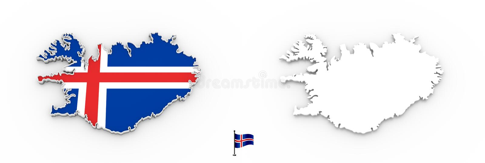 3D map of Iceland white silhouette and flag vector illustration