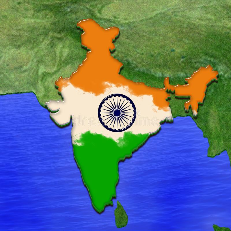 3D map of India painted in the colors of Indian flag. Illustration of stylized jelly pie royalty free illustration