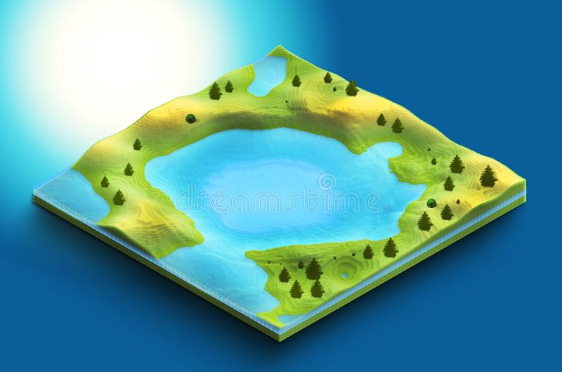 3d map isometric of lake with vegetation and clods of land royalty free stock photos