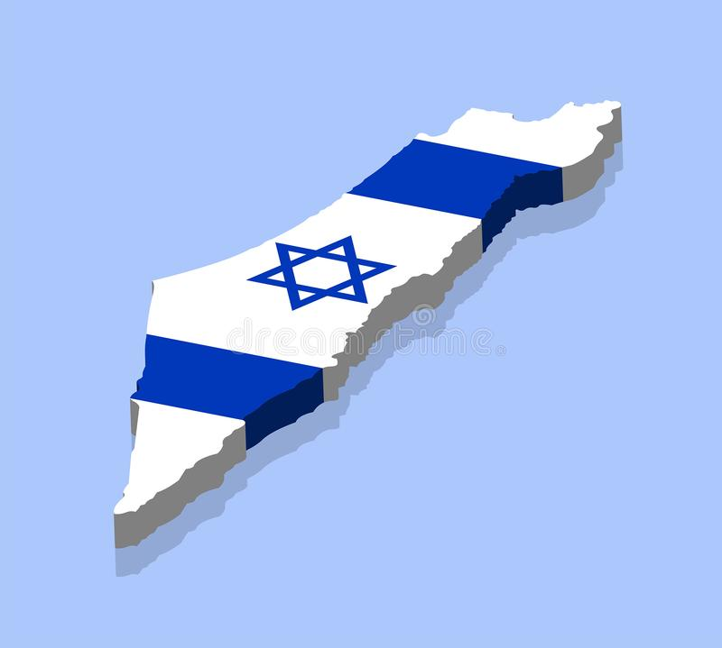 3D Map of Israel with Israeli Flag stock illustration