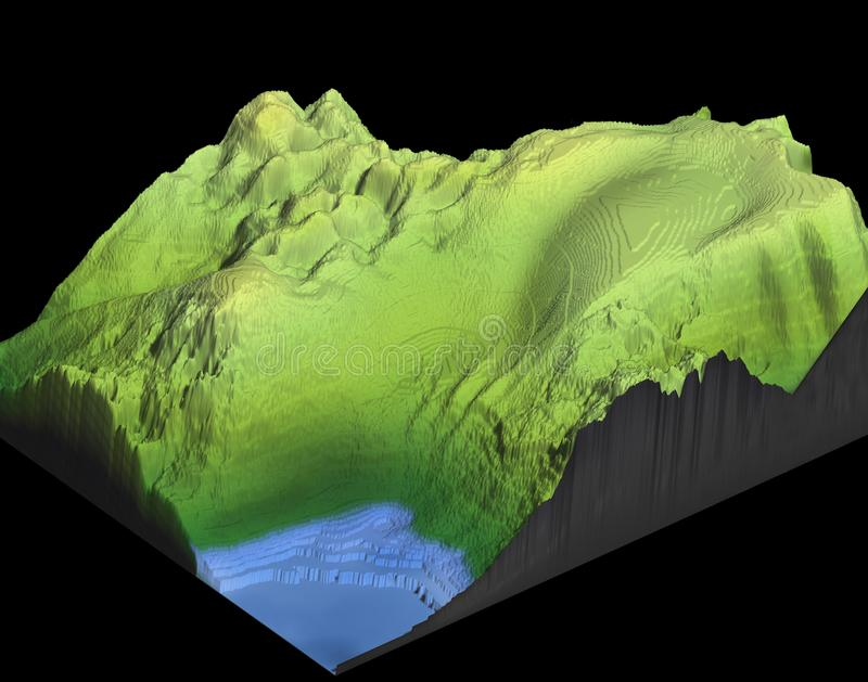 3d map of a mountain with lake royalty free stock images