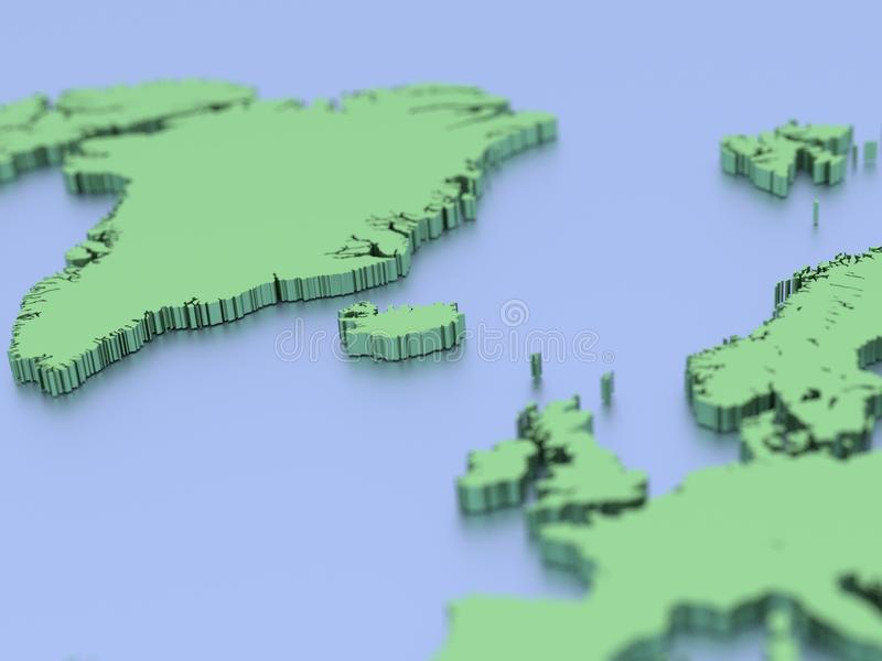 3D map of northern Europe royalty free illustration