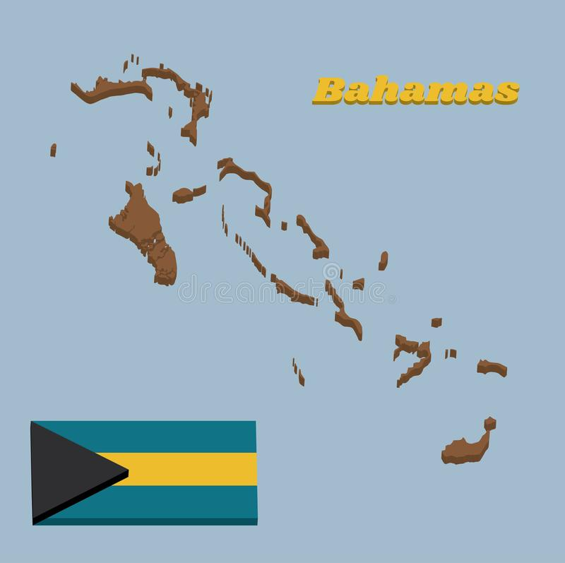 3D Map outline and flag of Bahamas, a horizontal triband of aquamarine top and bottom and gold with the black chevron aligned to royalty free illustration