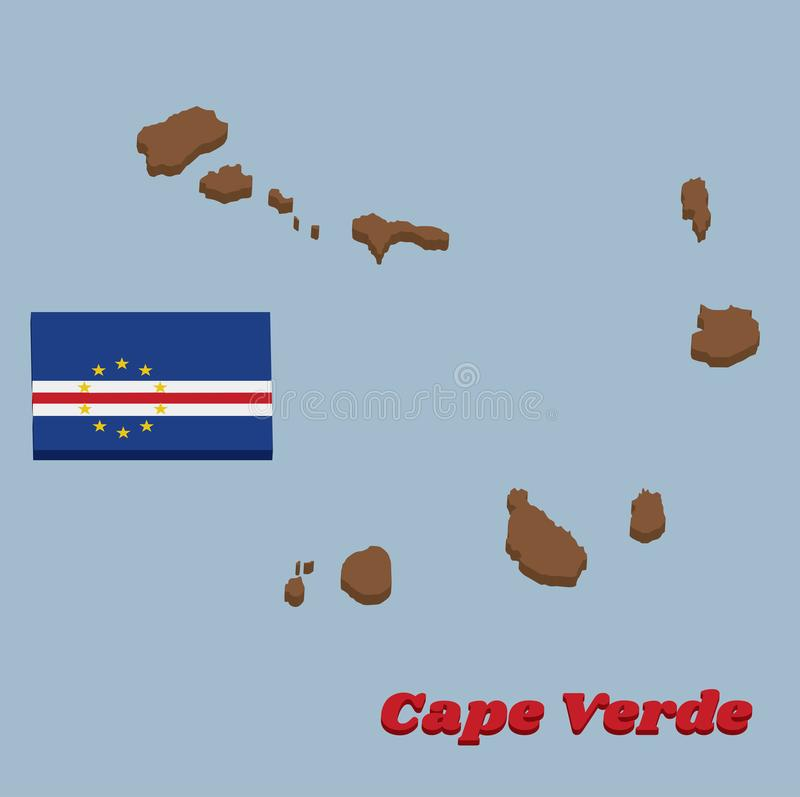 3D Map outline and flag of Cape Verde, horizontal bands of blue white and red with the circle of ten star stock illustration