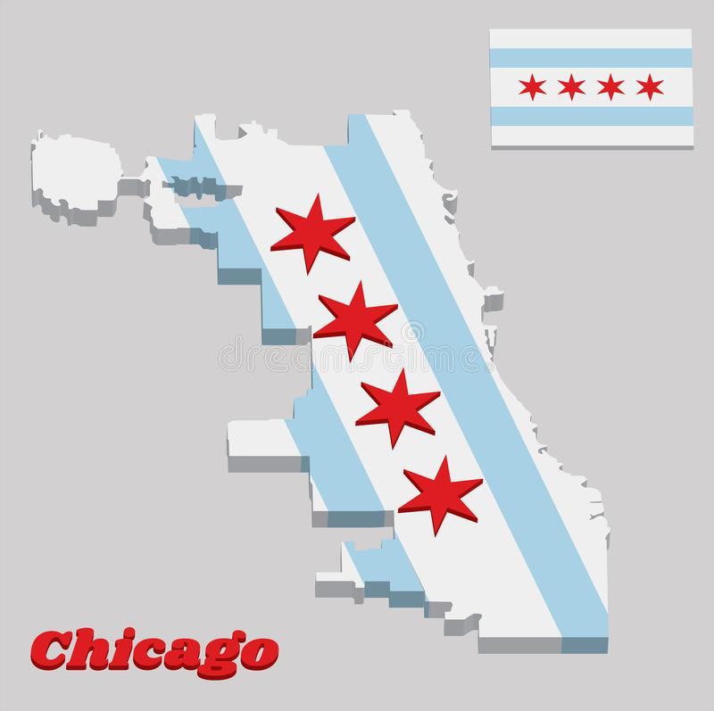 3D map outline and flag of Chicago, the city of Chicago is the most populous city in Illinois, United States of America vector illustration