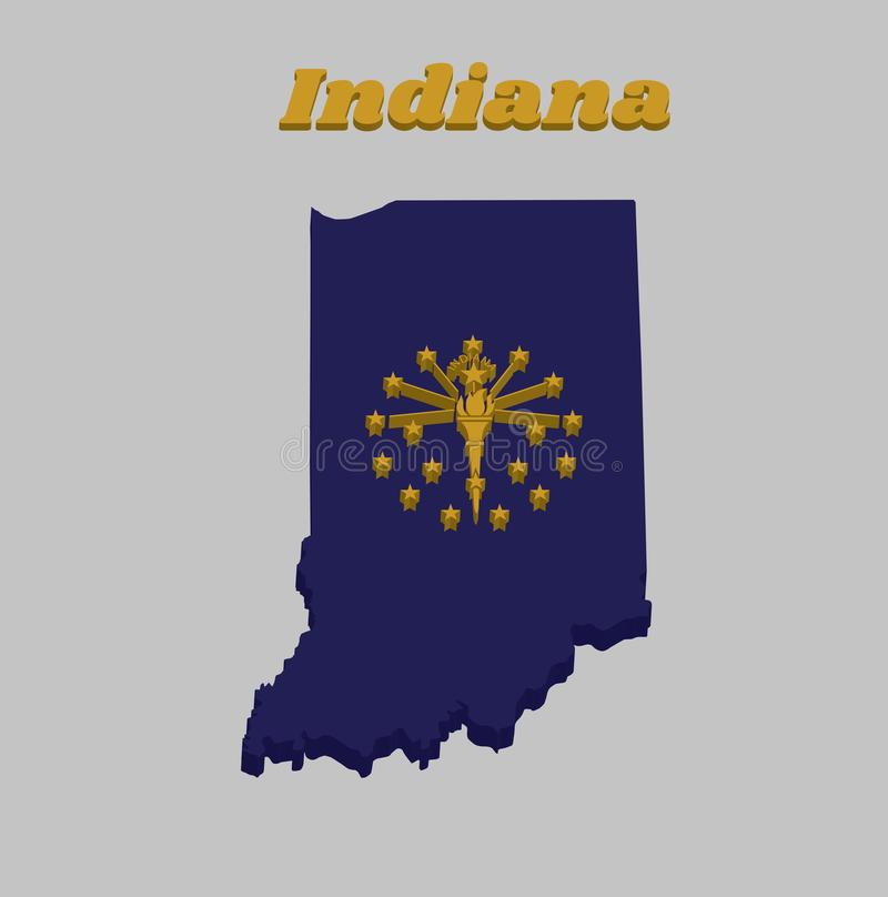 3D Map outline and flag of Indiana, A gold torch surrounded by an outer circle of thirteen stars, an inner semi circle of five vector illustration