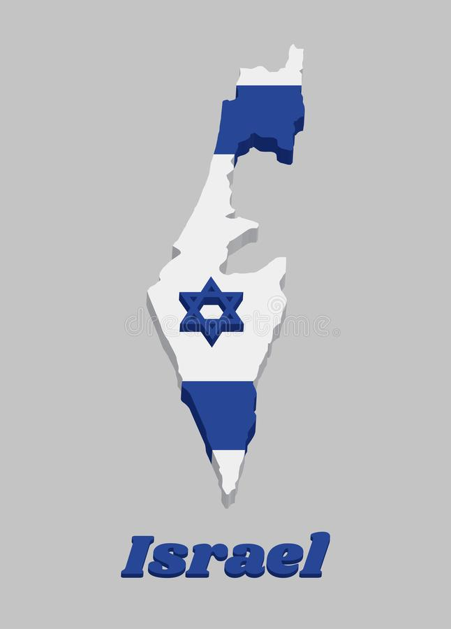 3D Map outline and flag of Israel, It depicts a blue hexagram on a white background, between two horizontal blue stripes stock illustration