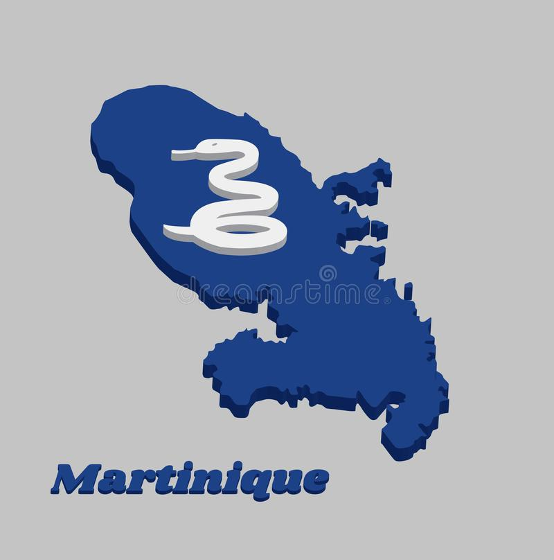 3D Map outline and flag of Martinique, Four white snake on blue field and white cross in the center. With name text Martinique stock illustration