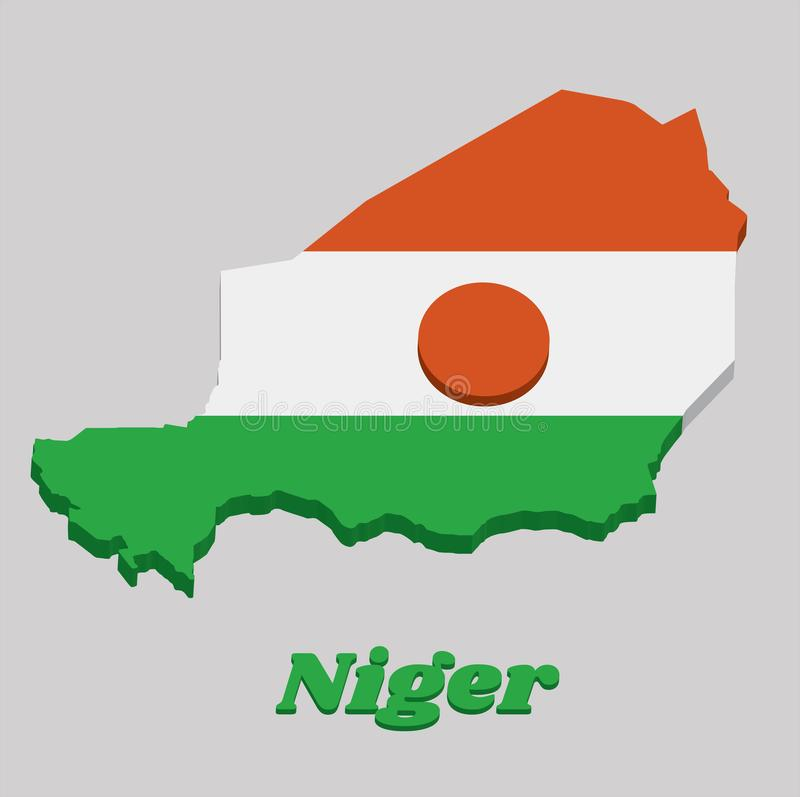 3D Map outline and flag of Niger, A horizontal triband of orange white and green; charged with an orange circle in the centre royalty free illustration