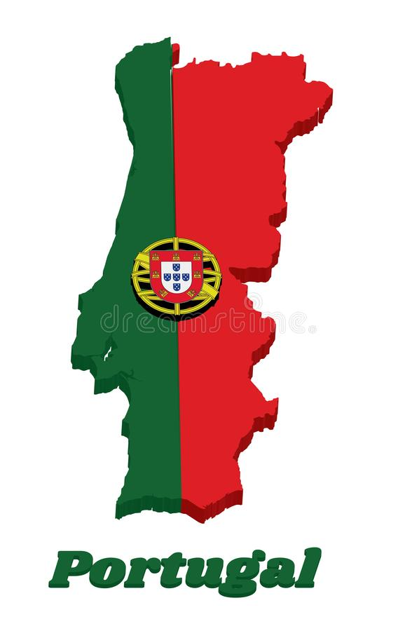 3d Map outline and flag of Portuguese, a 2:3 vertically striped bicolor of green and red, with coat of arms of Portugal centred stock illustration