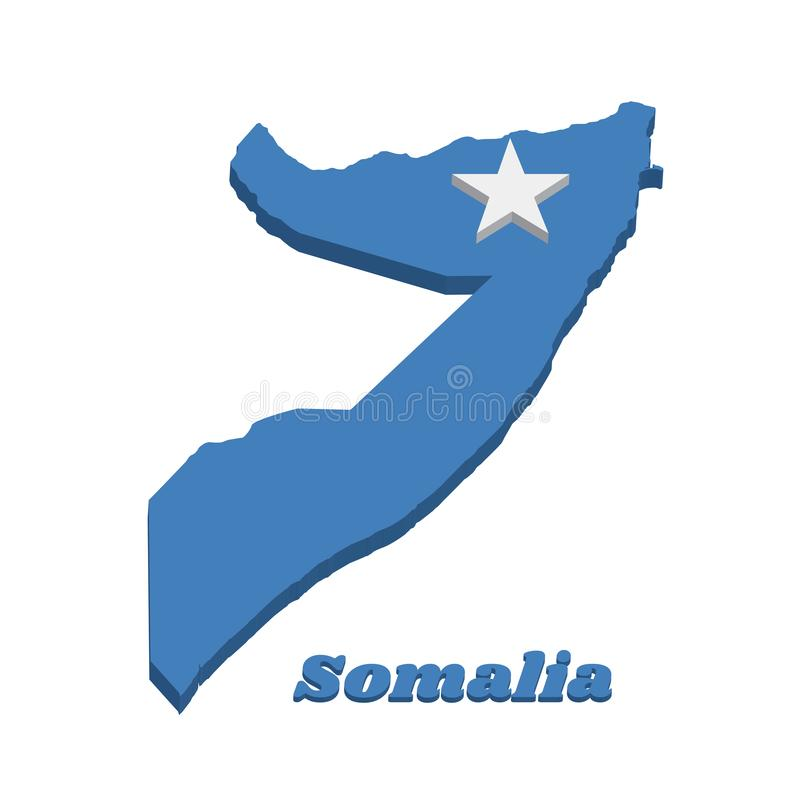3d Map outline and flag of Somalia, a single white five-pointed star centered on a light blue field. With name text Somalia stock illustration