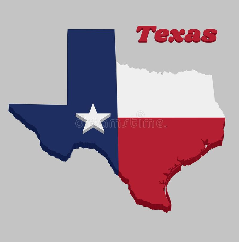 3D Map outline and flag of Texas, blue containing a single centered white star. The remaining field is divided horizontally into a. White and red bar, with text stock illustration