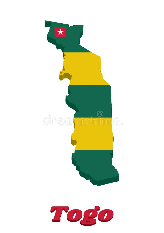 3D Map outline and flag of Togo, Five equal horizontal bands of green alternating with yellow; with a red canton bearing a white. Star and text Togo royalty free illustration