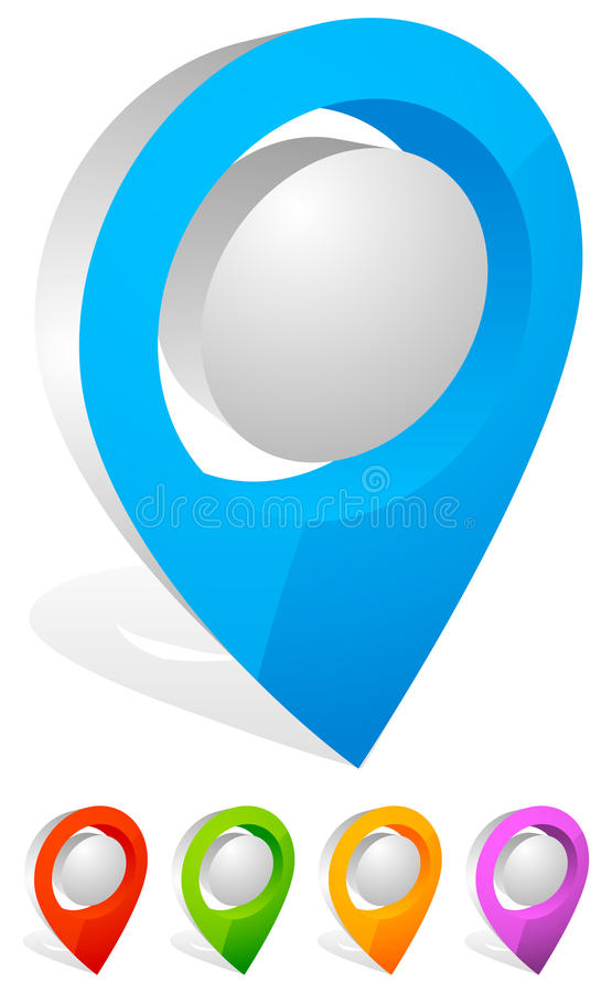 3d map pin, map marker. Address, location icon. Royalty free vector illustration royalty free illustration