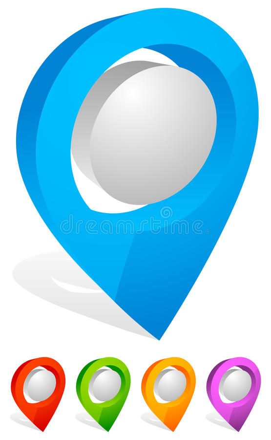 3d map pin, map marker. Address, location icon. Royalty free vector illustration stock illustration